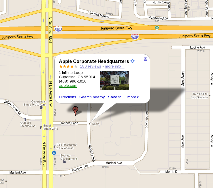 Grab from Google Maps browser application, showing Apple's Cupertino HQ, which is the location in the icon used in the CPW Android brochure