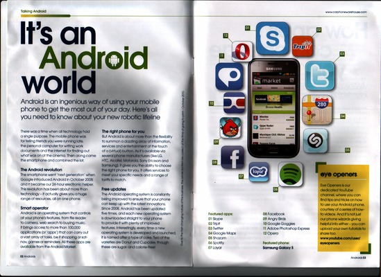 Low-resolution scan of pages 2 and 3 of the Android promo brochure distributed in Carphone Warehouse branches in late 2010