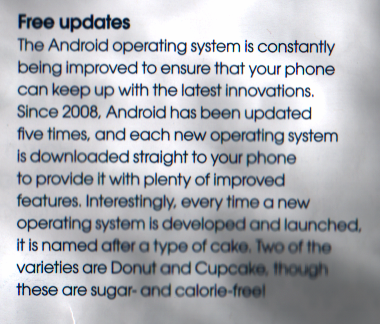 Clipping from page 2 that talks about free updates and constant improvements that are downloaded straight to your phone