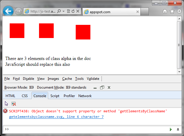 Screengrab of IE9 showing it reporting a JavaScript error on a test SVG file that uses getElementsByClassName