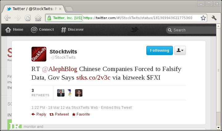 Screengrab of a tweet with a link apparently to stks.co/2v3c