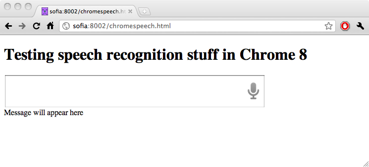 Screen grab from Chrome 8 showing an input field with a speech icon