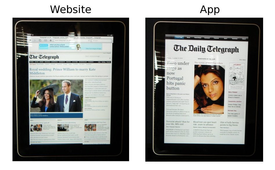 Photos of The Telegraph's website and iPad app, taken 1:20pm on 2010/11/16.  The iPad app has no coverage of a story that broke earlier that day.