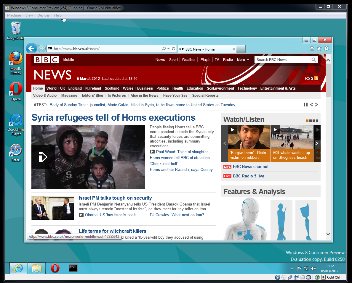 Screen grab of IE10 browser running in the 'regular' Windows UI on Windows 8