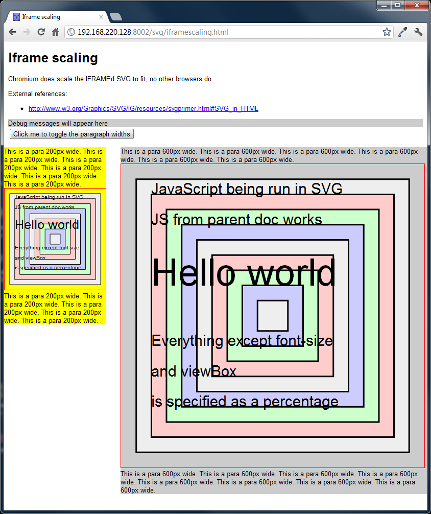 Screengrab of SVGs using the iframe tag in Chromium 19