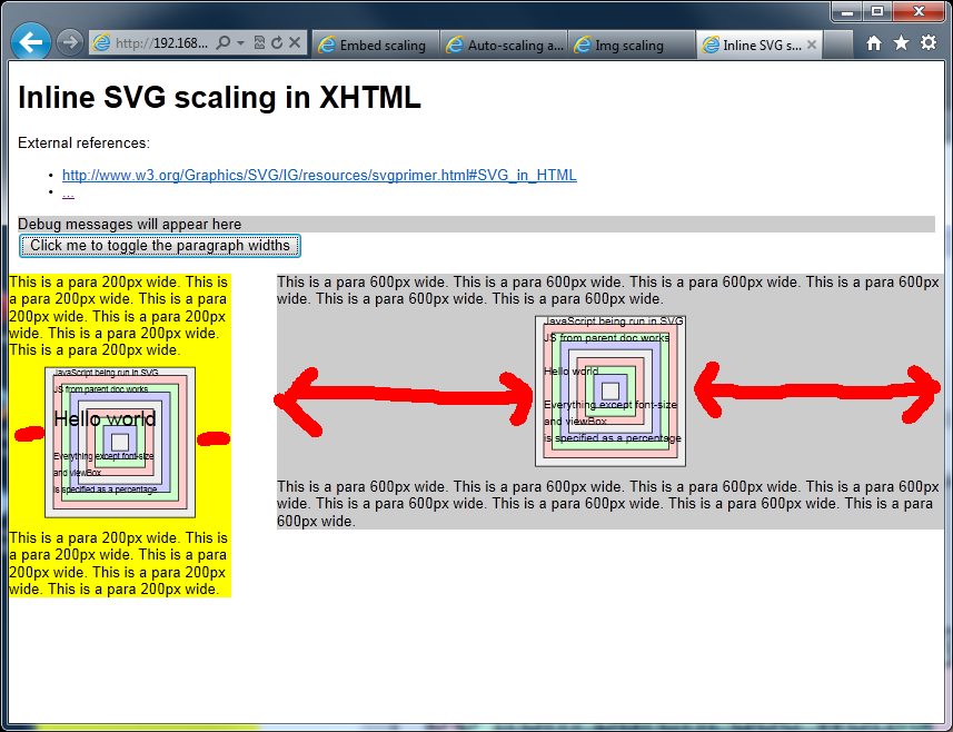 Screengrab of SVGs using inline SVG in IE9