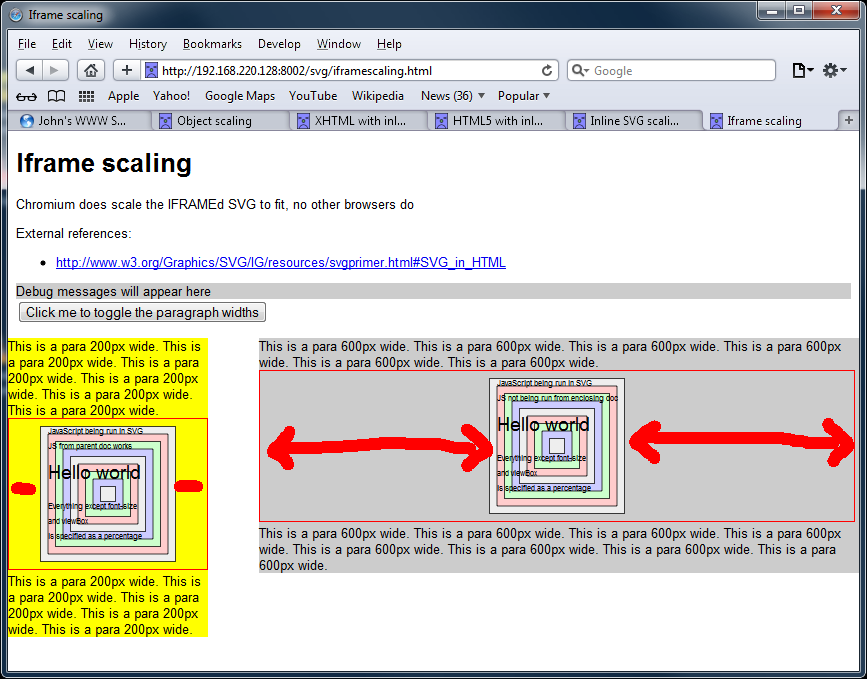 Screengrab of SVGs using the iframe tag in Safari 5.1